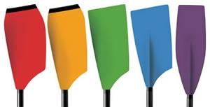 Ukázka barevných lopatek